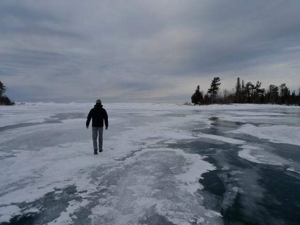 Walking the ice in Copper Harbor, MI