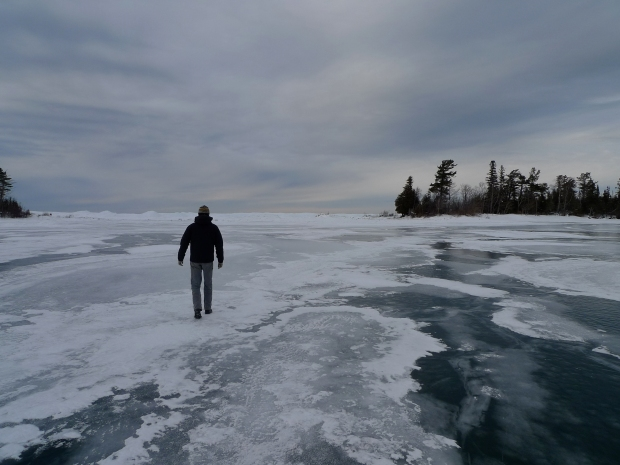 Walking the ice in Copper Harbor, MI