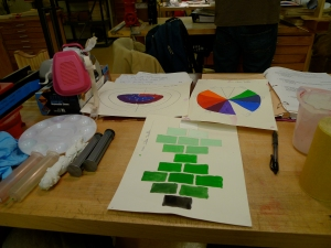 Making a color wheel, and exploring what happens when you mix white or black with another color