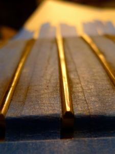 Leveled, flattened frets before crowning and refining