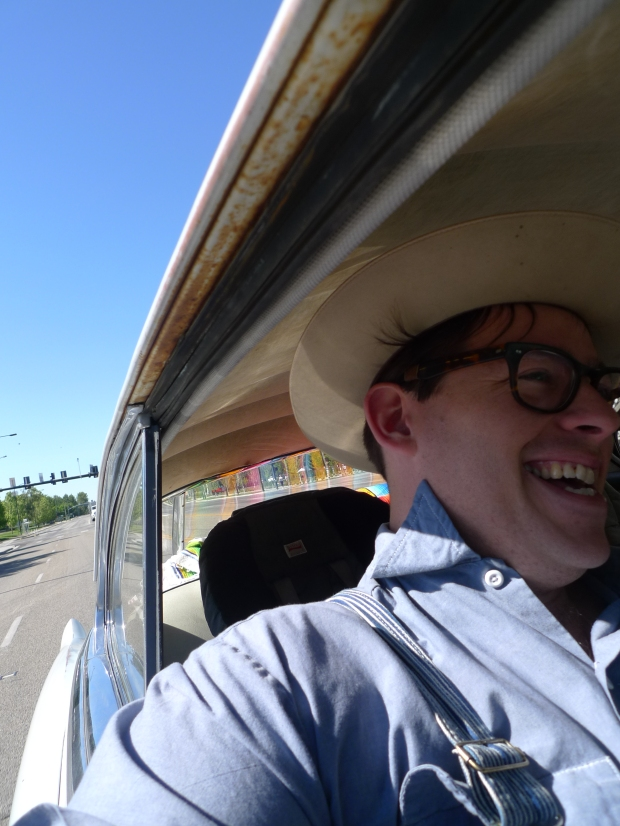 Going for a joyride in an early fifties Cadillac with Mrs. Ava Honey in Boise, Idaho